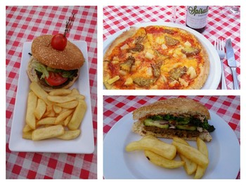 Neues bei La Piazza Toscana in Bad Homburg: Pizza mit Daiya Cheese oder Veganic Vegan Pizza Cheese und vegane Burger